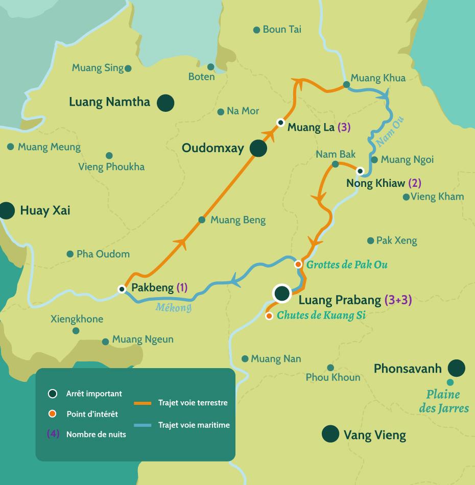 Carte du Laos circuit la boucle du nord Laos. Luang Prabang, les chutes de Kuang Si et les grottes de Pak Ou. Croisière sur le Mékong jusqu'à Pakbeng puis arrivée à Muang La, puis Nong Khiaw