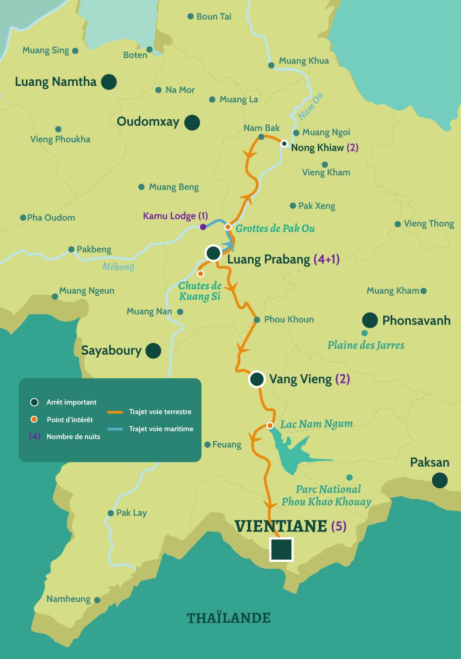 Carte du Laos circuit le Laos en famille. De Luang Prabang aux grottes de Pak Ou et les chutes de Kuang Si. Puis de Vang Vieng au Lac Nam Ngum jusqu'à Vientiane.