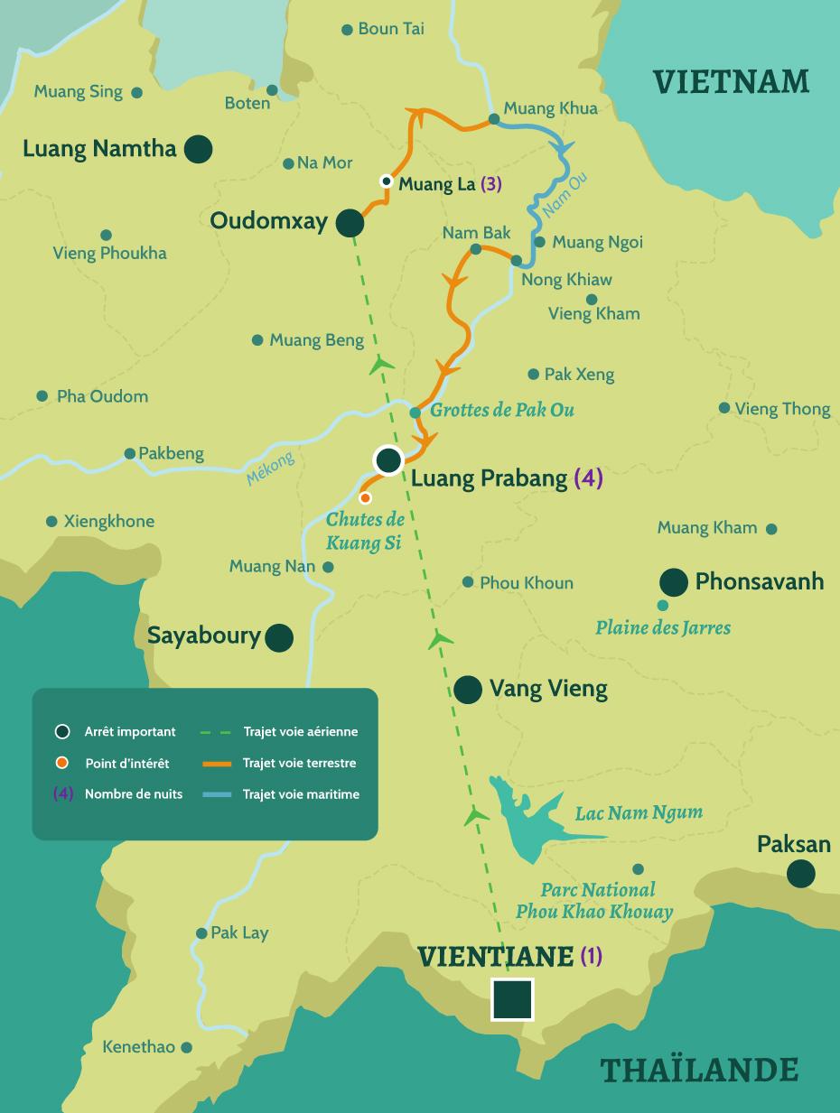 Carte du Laos circuit haut de gamme. De Vientiane à Oudomxay. Puis de Muang La à Luang Prabang en passant par les chutes de Kuang Si.