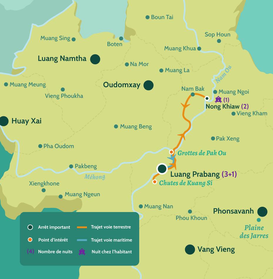 Carte du Laos circuit Luang Prabang vrsion zen et campagne. De Luang Prabang en passant par les chutes de Kuang Si et les Grottes de Pak Ou. Puis jusqu'à Nong Khiaw.