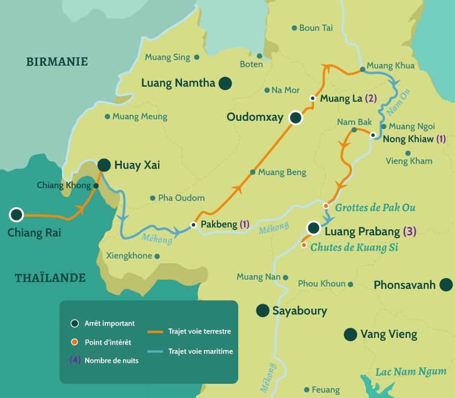 Carte du Laos circuit Peuple et culture du nord Laos et Thaïlande. De Chiang Rai à Pakbeng, puis de Oudomxay à Muang La. De Nong Khiaw à Luang Prabang en passant par les grottes de Pak Ou et les chutes de Kuang Si.