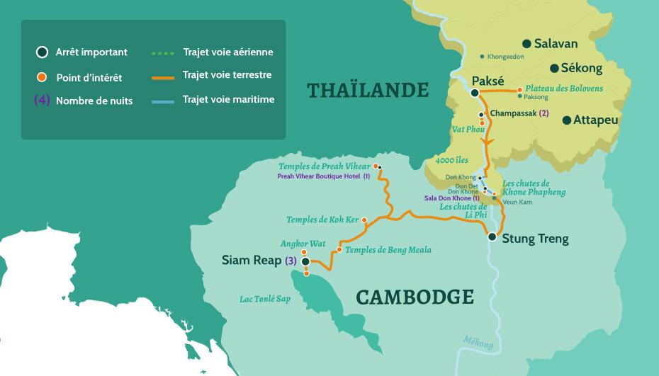Carte du Laos et Cambodge circuit sur la route des temples d'Angkor. De Paksé au Plateau des Bolovens. En passant par le Champassak, le Vat Phou et les 4000 îles. Puis Siam Reap et Angkor Wat