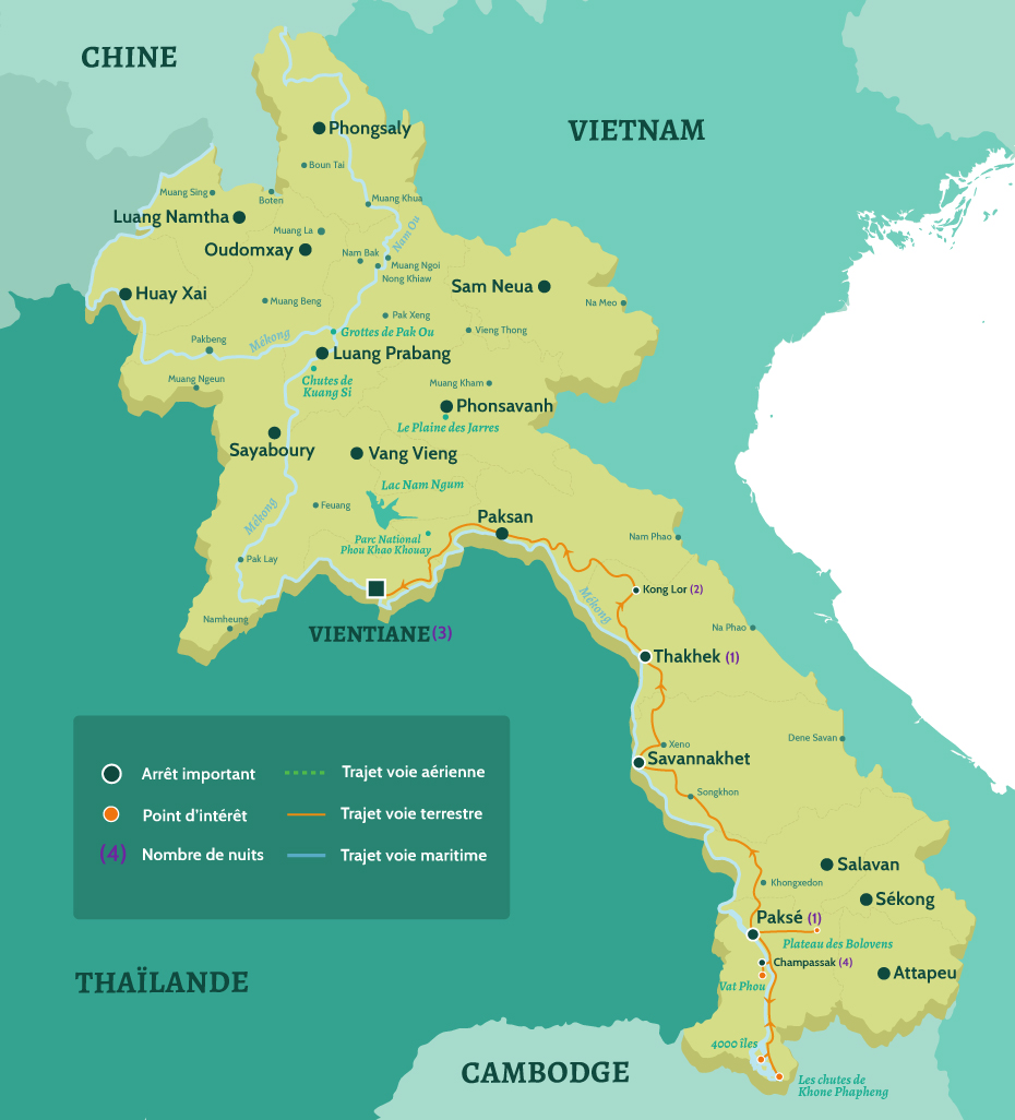 Carte du Laos circuit du sud au Nord depuis Vientiane par la route. Depuis les 4000 îles, Champassake et le Vat Phou puis Paksé et le Plateau des Bolovens. De Savannakhet à Thakhek puis Kong Lor à Vientiane.