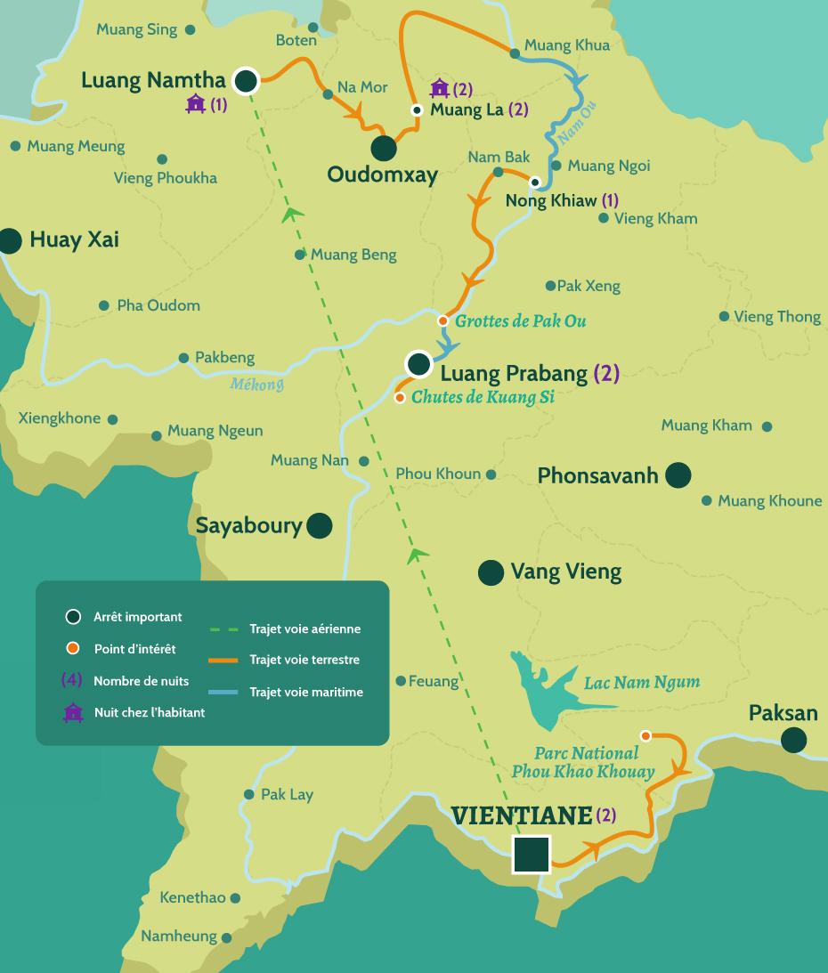 Carte du Laos circuit trek et ethnies au nord du Laos. Vientiane et la zone protégée Phou Khao Khouay. De Luang Namtha à Muang La puis Nong Khiaw. Luang Prabang les grottes de Pak Ou et les cascades de Kuang Si