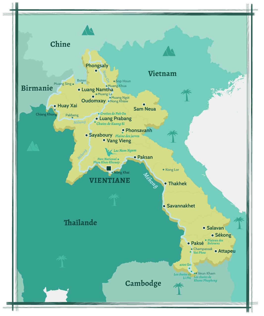 Carte du Laos et ses villes