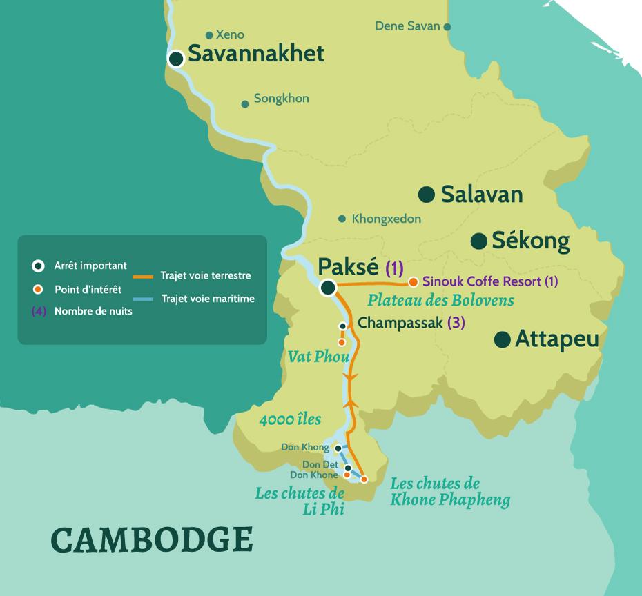 Carte Laos - Circuit Les Incontournables du Sud Laos